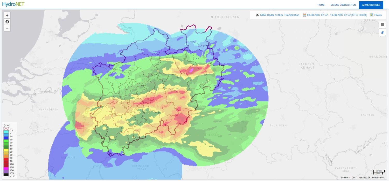 HydroNET radar data extreme neerslag Duitsland